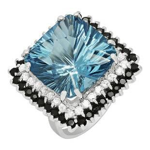 14k White Gold 21.01ct Blue Topaz 1.56ct Blue Sapphire