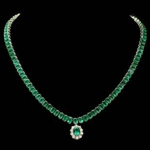 14K Yellow Gold 43.55ct Emerald and 0.50ct Diamond