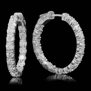 14K White Gold and 6.10ct Diamond Hoop Earrings