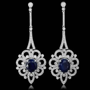18K Gold 13.89ct Sapphire 4.11ct Diamond Earrings