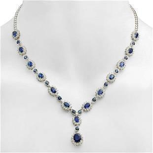 18K Gold 12.12ct Sapphire 5.31ct Diamond Necklace