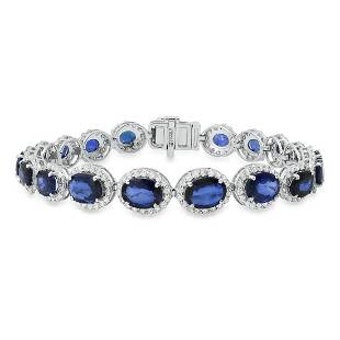 14K White Gold Setting With 12.64ct Sapphire and 3.53ct