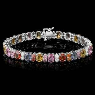 14K Gold 23.22ct Sapphire 1.64ct Diamond Bracelet