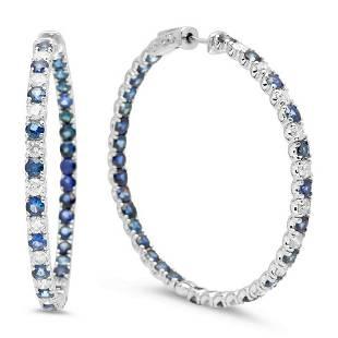 14K Gold 8.01ct Sapphire 2.37cts Diamond Earrings