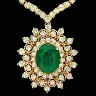 18K Gold 3.73ct Emerald 10.94ct Diamond Necklace