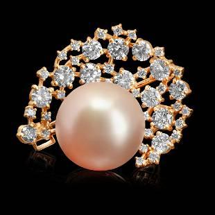 14k Rose Gold 15mm South Sea Pearl 2.20ct Diamond