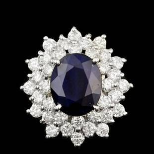 14K White Gold 4.20ct Sapphire and 2.04ct Diamond Ring
