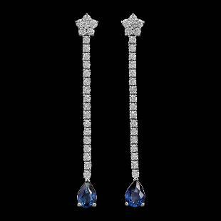 14K Gold 1.70ct Sapphire 1.15ct Diamond Earrings