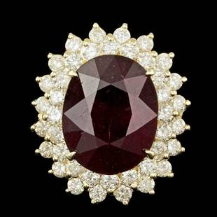14K Yellow Gold 13.27ct Ruby and 1.96ct Diamond Ring