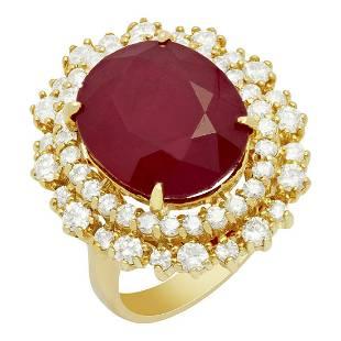 14k Yellow Gold 12.57ct Ruby 1.62ct Diamond Ring