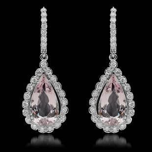 14K Gold 9.62ct Morganite & 1.71ct Diamond Earrings