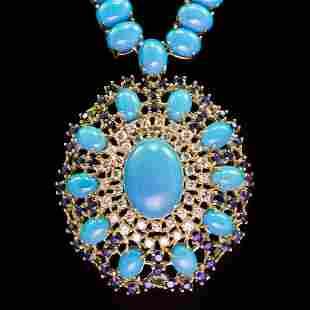 96.03ct Turquoise, 3.13ct Sapphire 1.78ct Diamond