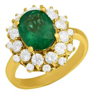 14k Yellow Gold 2.74ct Emerald 1.36ct Diamond Ring
