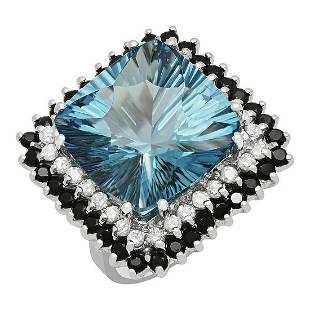 14k White Gold 17.58ct Blue Topaz 1.75ct Blue Sapphire