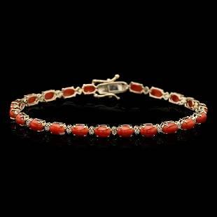 14k Gold 7.72ct Coral 0.53ct Diamond Bracelet