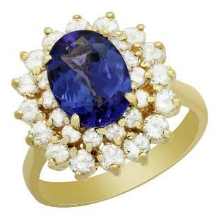 14k Yellow Gold 2.45ct Tanzanite 1.43ct Diamond Ring