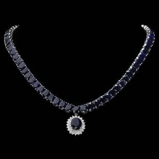 14K White Gold 104.87ct Sapphire and 1.60ct Diamond