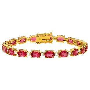 14k Yellow Gold 17.20ct Pink Tourmaline 0.96ct Diamond
