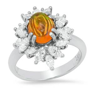 Platinum Setting with 1.27ct Opal and 1.37ct Diamond