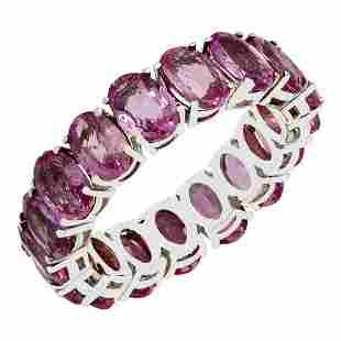 14k White Gold 10.12ct Pink Sapphire Eternity Band Ring