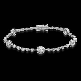 18K White Gold and 3.93ct Diamond Bracelet