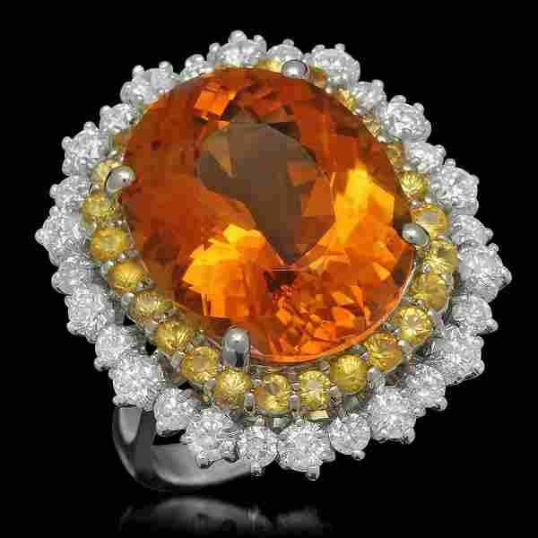 14K White Gold 10.62ct Citrine 0.98ct Sapphire and