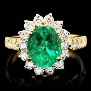14K Yellow Gold 2.52ct Emerald and 1.06ct Diamond Ring