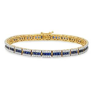 14K Yellow Gold 4.80ct Sapphire and 2.26ct Diamond