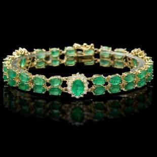 14K Gold 18.21ct Emerald 1.54ct Diamond Bracelet