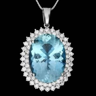 14K Gold 20.72ct Aquamarine 2.16ct Diamond Pendant