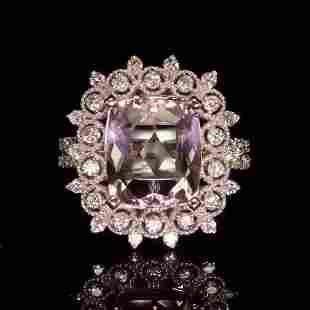 14K White Gold 3.79ct Morganite and 0.92ct Diamond Ring