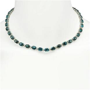 14K Gold 56.61ct Topaz 2.69ct Diamond Necklace