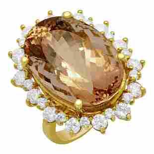 14k Yellow Gold 22.96ct Morganite 2.09ct Diamond Ring