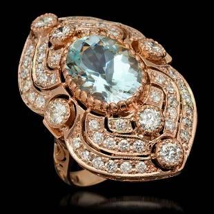 14K Rose Gold 6.51ct Aquamarine and 2.82ct Diamond Ring