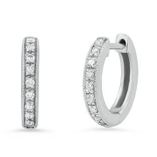 18K White Gold Setting with 0.30ct Diamond Hoop