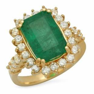14K Yellow Gold 4.39ct Emerald and 1.04ct Diamond Ring