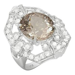 14k White Gold 7.16ct Morganite 1.21ct Diamond Ring
