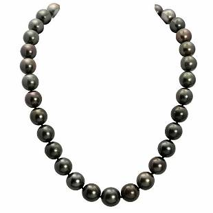 12-14.5mm Natural Black Pearl Necklace