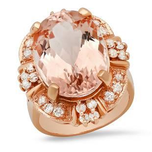 14K Rose Gold 14.23ct Morganite and 0.85ct Diamond Ring