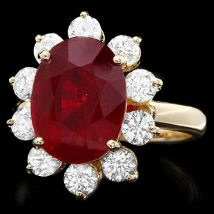 14K Yellow Gold7.86ct Ruby and 1.38ct Diamond Ring