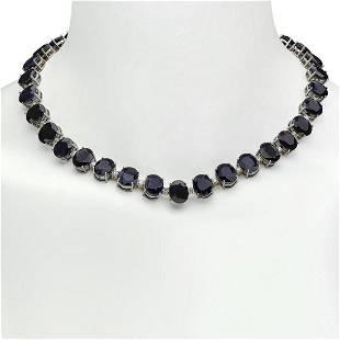 14K Gold 144.38ct Sapphire 4.28ct Diamond Necklace