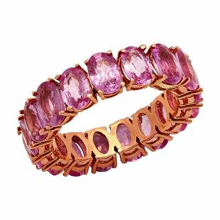 14k Rose Gold 10.25ct Pink Sapphire Eternity Band Ring