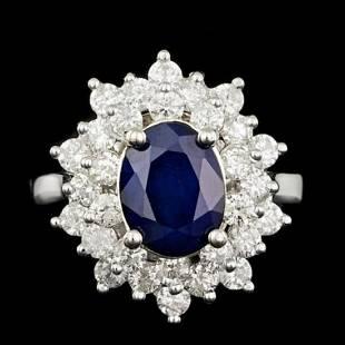 14K White Gold 2.10ct Sapphire and 1.41ct Diamond Ring