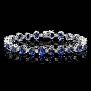 14K Gold 21.65ct Sapphire 1.62ct Diamond Bracelet