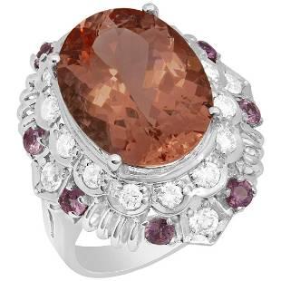 14k White Gold 8.06ct Morganite 0.65ct Pink Sapphire