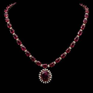 14K Gold 67.74ct Ruby & 2.48ct Diamond Necklace