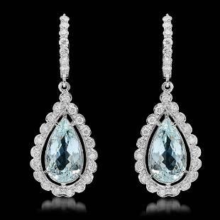 14k Gold 7.82ct Aquamarine 1.61ct Diamond Earrings