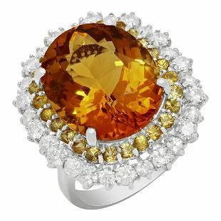 14k White Gold 10.36ct Citrine 1.00ct Yellow Sapphire