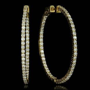 14K Yellow Gold and 3.32ct Diamond Earrings