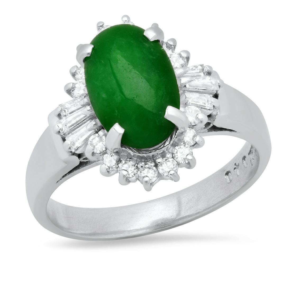 Platinum Ladies Ring with 2.5ct Jade(GIA certified) and